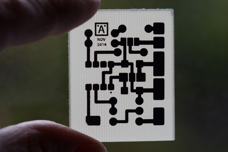 Figure 2. I etched my own circuit board using the laser print to Canon glossy photo paper and iron-on technique.